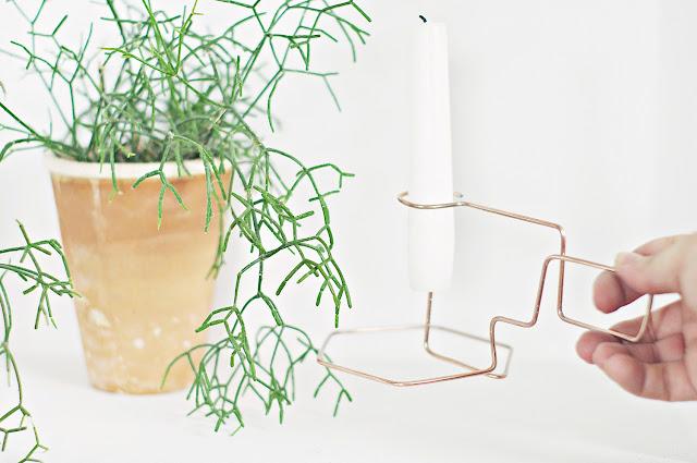 Minimalistyczny świecznik z miedzianego drutu, krok po kroku, dizajn za grosze, DIY