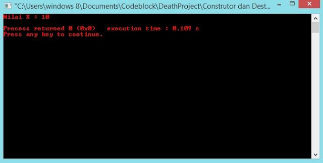 Gambar output program destructor by www.xcodeplus.net