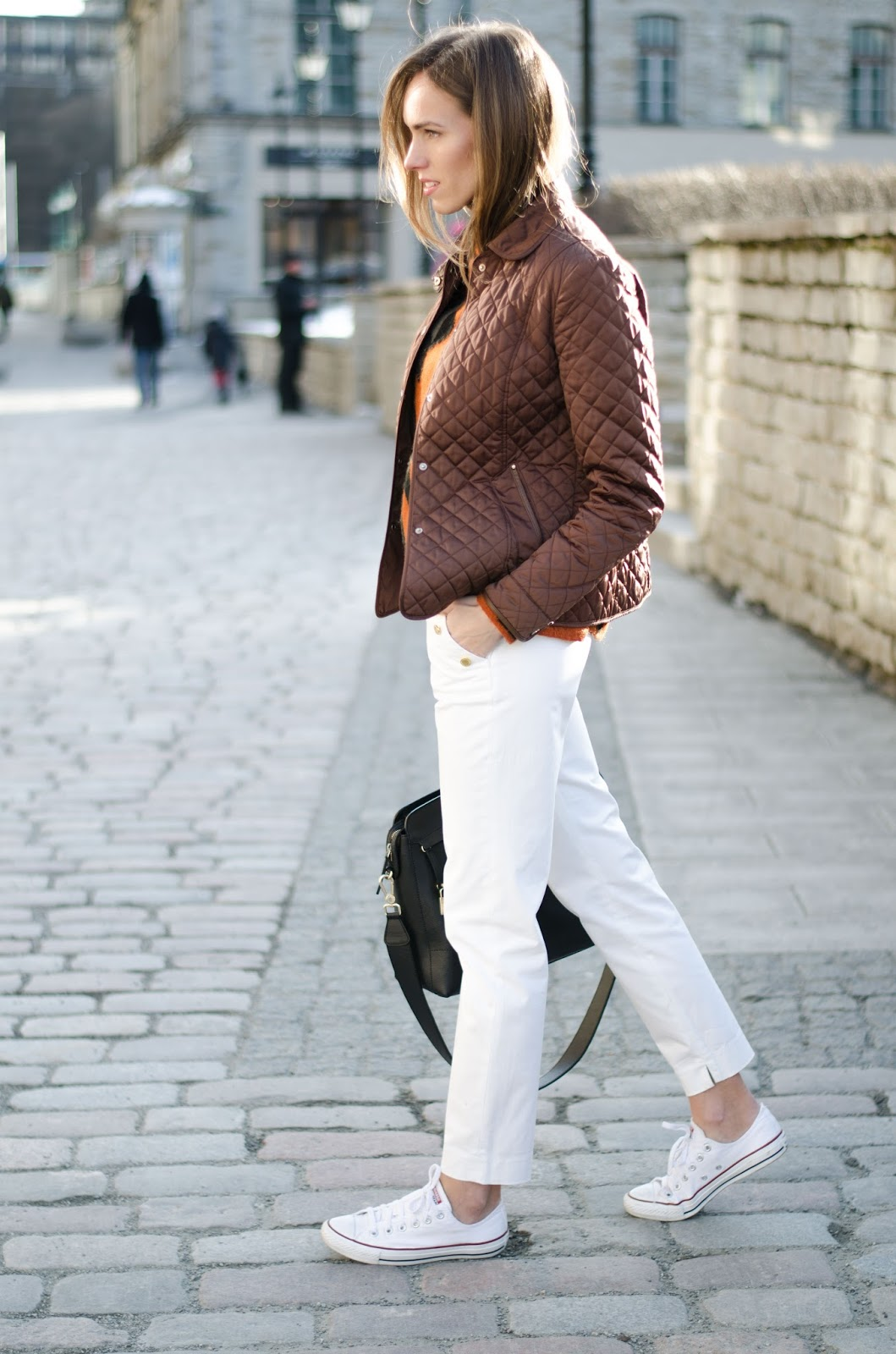 kristjaana mere quilted jacket white pants sneakers spring outfit