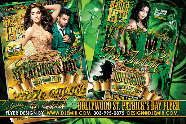 Kiss Me I'm Indian Green and Gold Bollywood St Patrick's Day Party Flyer Design