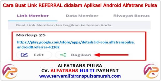 Cara Buat Link Referral Aplikasi Alfatrans Pulsa