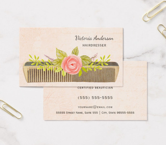 Girly business cards elegant hairdresser with vintage comb and roses business cards reheart Choice Image