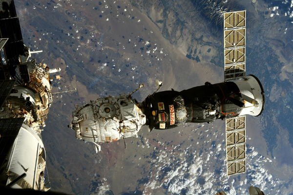 Russia's Progress MS-16 freighter, with the Pirs module attached to it, undocks from the International Space Station on July 26, 2021.