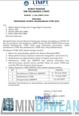 Surat Edaran Perubahan Jadwal UTBK 2020