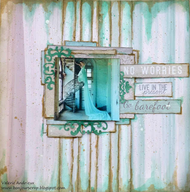 Mixed media scrapbooking layout with Art Anthology inks in green and turquoise tones