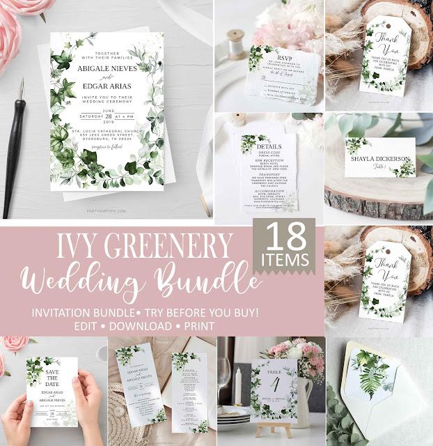 ivy greenery wedding invitation bundle