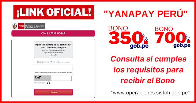 Bono yanapay : LINK de consulta 350 soles
