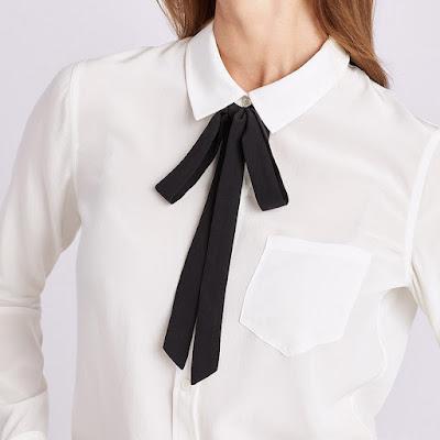 Белая блузка с воротничком и черным тонким бантом