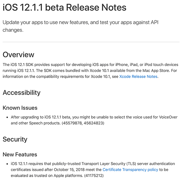 Apple iOS 12.1.1 Beta 1 - Changelog