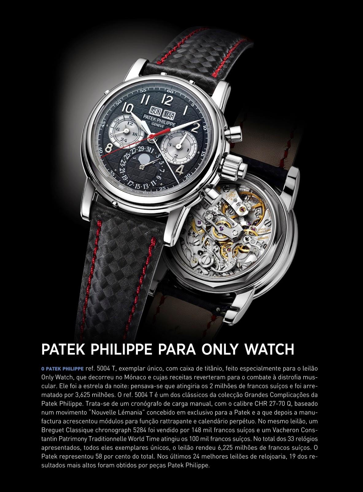 994584927d8 Estação Cronográfica  Relógio Patek Philippe para Only Watch