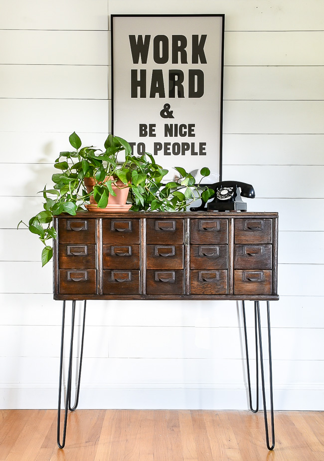 Vintage 15 drawer card catalog with hairpin legs