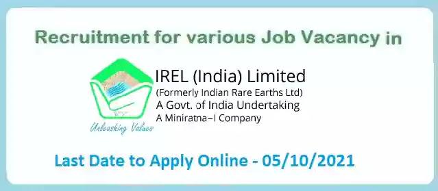 Trainee Job Vacancy in IREL Limited 2021