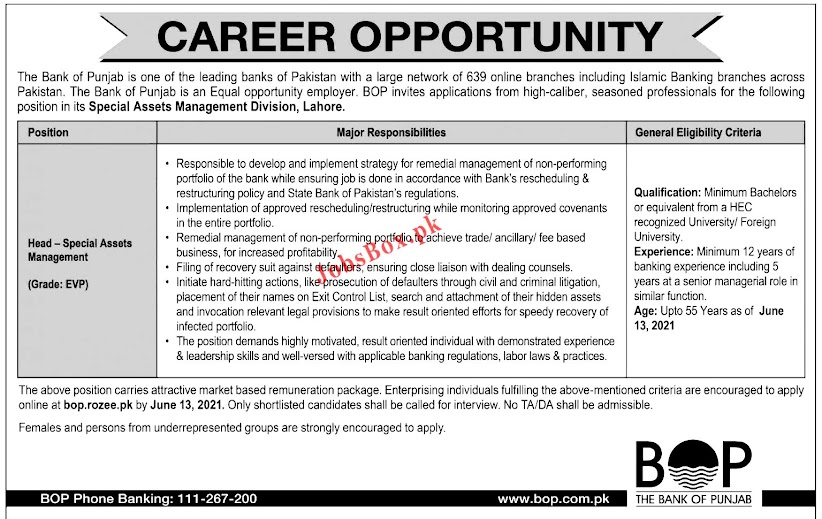 Latest Jobs in  The Bank of Punjab BOP 2021