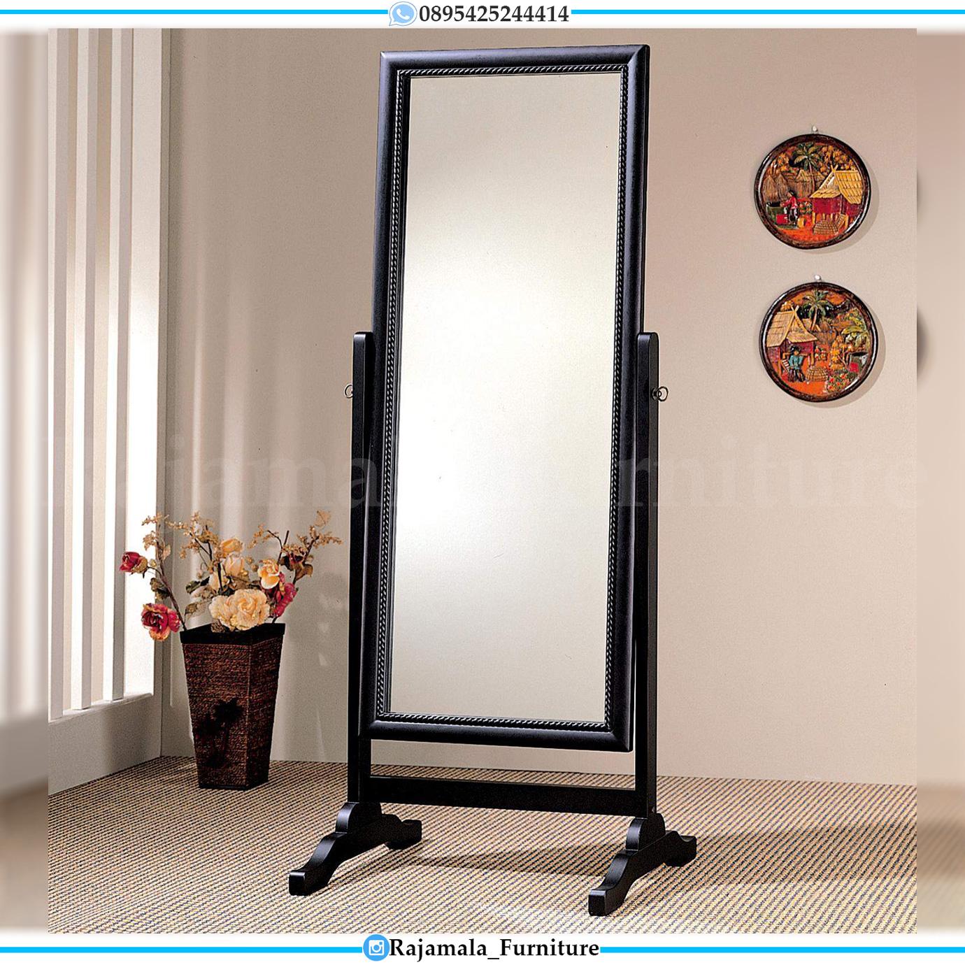 Stand Mirror Minimalis Black Duco Modern Design Cermin Terbaru RM-0051