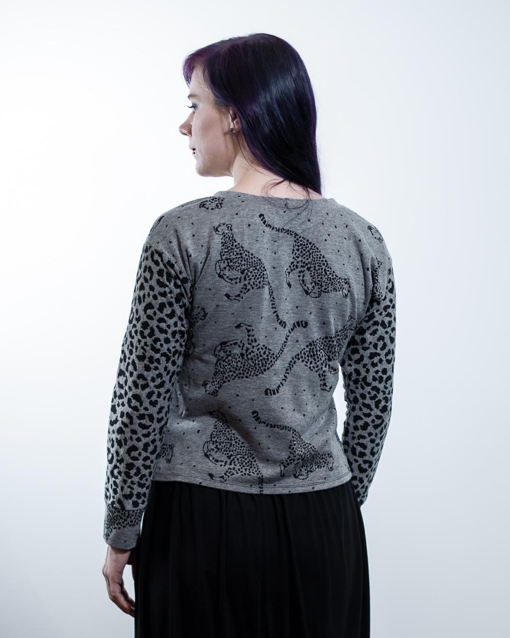 cheetah fabric sweatshirt selfdrafted modified sewing pattern Minn's Things no yolk back view