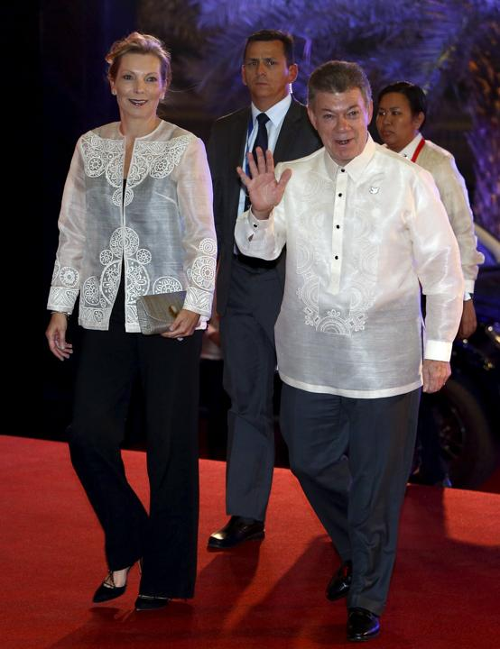 Colombia's President Juan Manuel Santos and his wife Maria Clemencia Rodriguez Munera