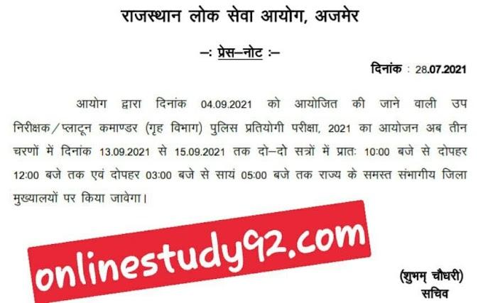 Rajasthan Police SI Bharti 2021 | RPSC Sub Inspector Notification 2021 | राजस्थान सब इंस्पेक्टर भर्ती 2021