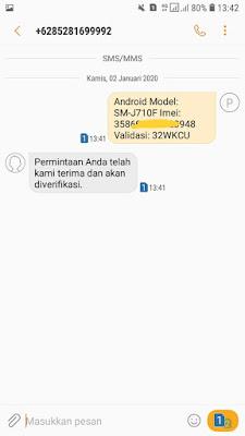 Kirim text Validasi via SMS