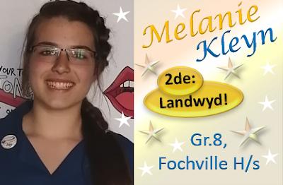 """Melanie Kleyn gaan GROOT! Met die uitmuntende lewering van haar toespraak, dring Melanie Kleyn, Gr.8, Hoërskool Fochville deur tot die landswye finaal van die """"Oppie Tong Af 2019 redenaarskompetisie"""" en eindig 2de, landwyd! Baie geluk, Melanie!!"""