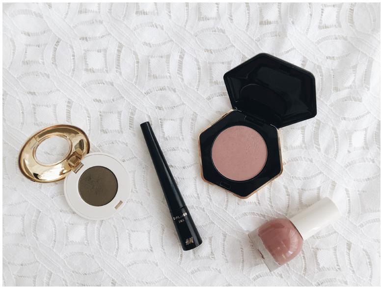 h&m beauty products, eyeliner, eyeshadow, blush, nail polish, review
