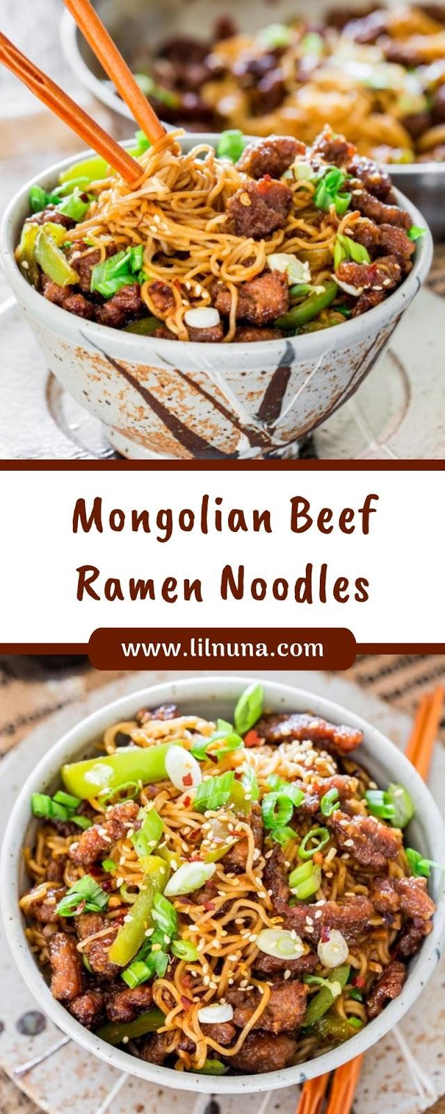 Mongolian Beef Ramen Noodles
