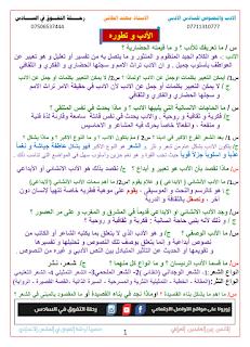 مجموعة الملازم الشاملة للأستاذ مهند الطائي في اللغة العربية للسادس الأدبي للعام 2016 / 2017