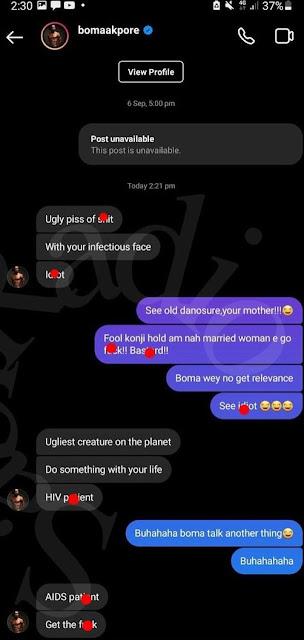 Wahala be like shoe! Moment Boma and a Troll fight on social media