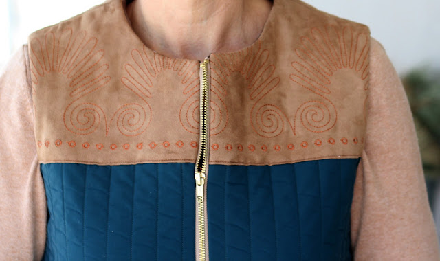 McCall's 7695 quilted vest with Pfaff Creative Icon Embroidery and Decorative Stitches on faux suede yoke