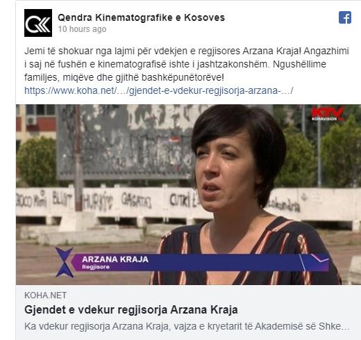 Kosovar film director Arzana Kraja passed away in Pristina