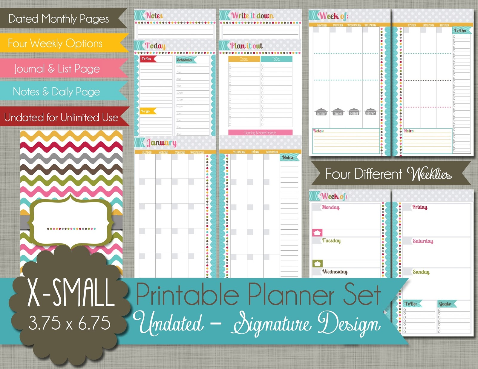the polka dot posie new x small personal size planner pages for your filofax daytimer more