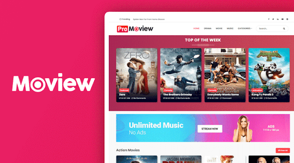 Moview Professional Movie Blogger Template Free Download