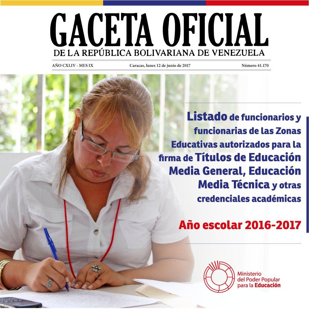 Consulta la Gaceta Oficial n° 41170: Listado de funcionarios autorizados para la firma de Títulos de Educación Media