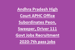 Andhra Pradesh High Court APHC Office Subordinates Peon, Sweeper, Driver 111 Govt Jobs Recruitment 2020-7th pass jobs