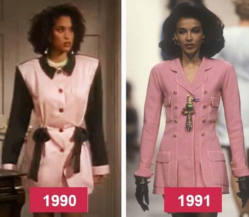 Hilary Banks roupa rosa e ao lado desfile anos noventa