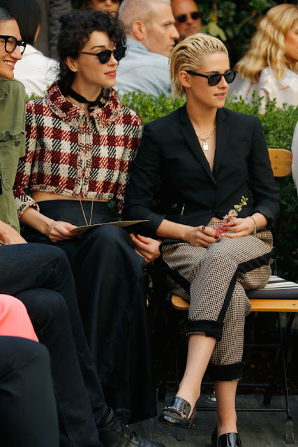 "St. Vincent (Annie Clark) and Kristen Stewart at the CFDA/""Vogue"" Fashion Fund Show at Chateau Marmont on Wednesday in Los Angeles. Photo: Jeff Vespa/Getty Images"