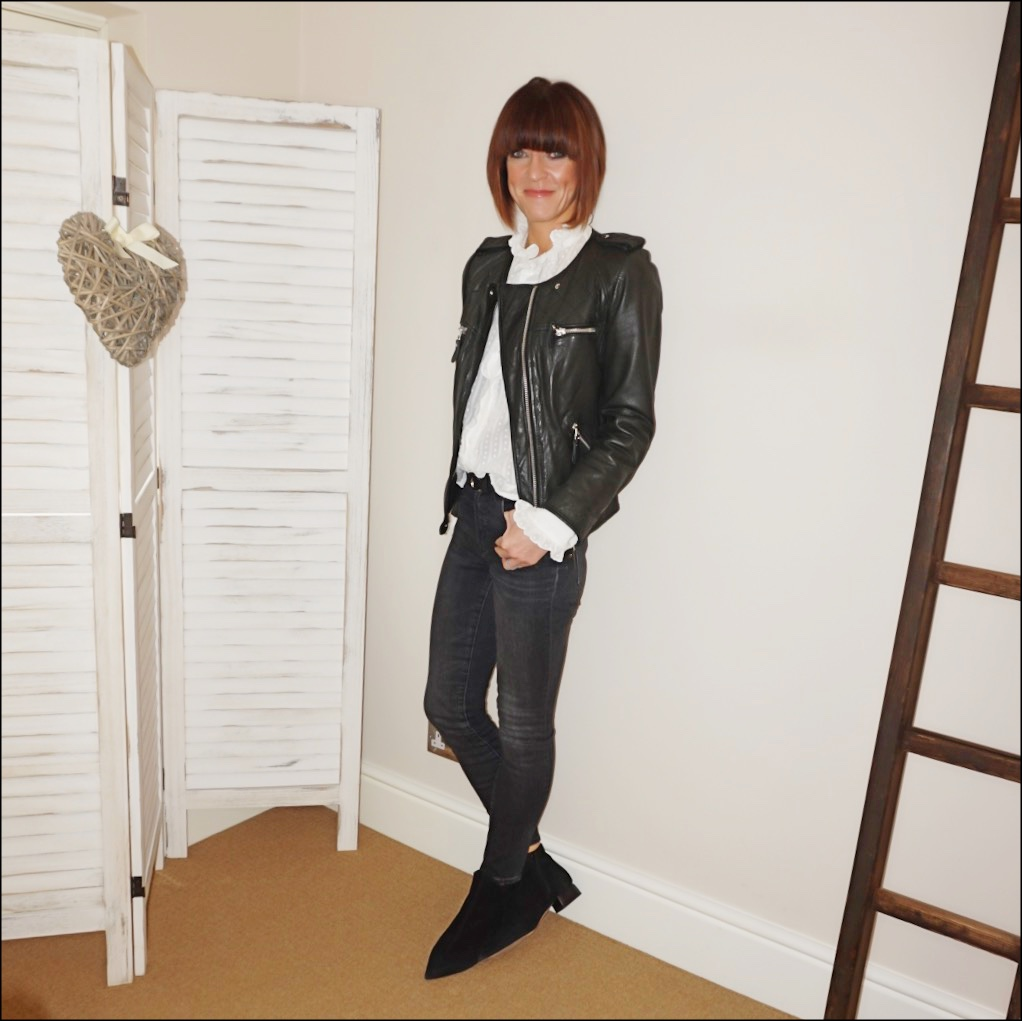 my midlife fashion, isabel marant etoile leather jacket, isabel marant etoile frill detail blouse, isabel marant etoile studded leather waist belt, j crew 9 high rise toothpick jean in charcoal, find ark ladies leather ankle boots