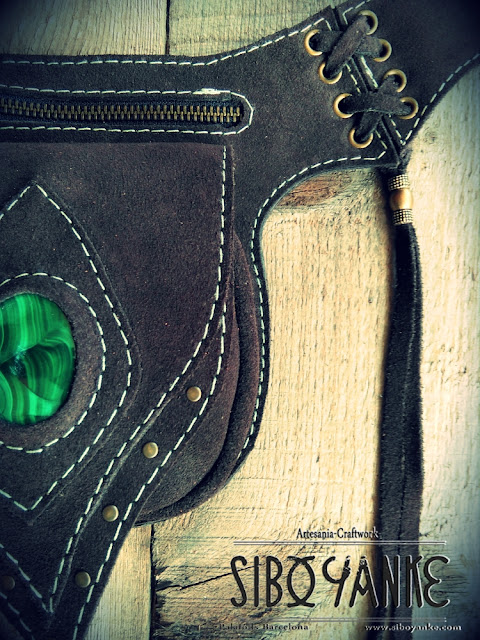 Sibo Yanke Leather Craftwork. LEATHER UTILITY BELT, FESTIVAL BELT with GEMSTONES. Chrysocolla, Labradorite, Malachite, Jaspe, Onix.