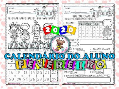 1º ano, 2º ano, Educação Infantil, Alfabetização matemática, Alfabetização matemática 1 ano, Atividades com calendários, Calendário fevereiro 2020, Calendários, Amorensina, Alfabetizar com amor,