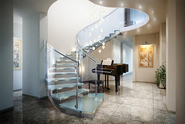 Interesting glass staircase
