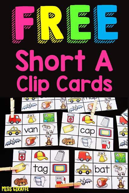 Free short a activities - adorable clip cards for reading CVC words practice!