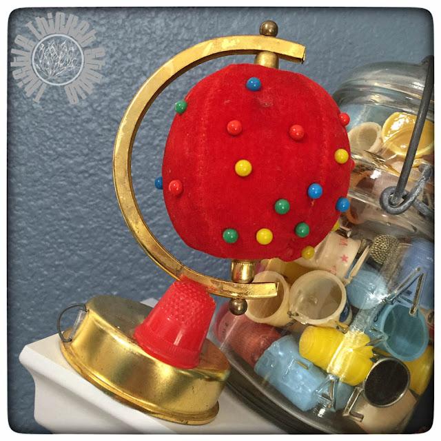 Vintage Globe Pincushion by Thistle Thicket Studio. www.thistlethicketstudio.com