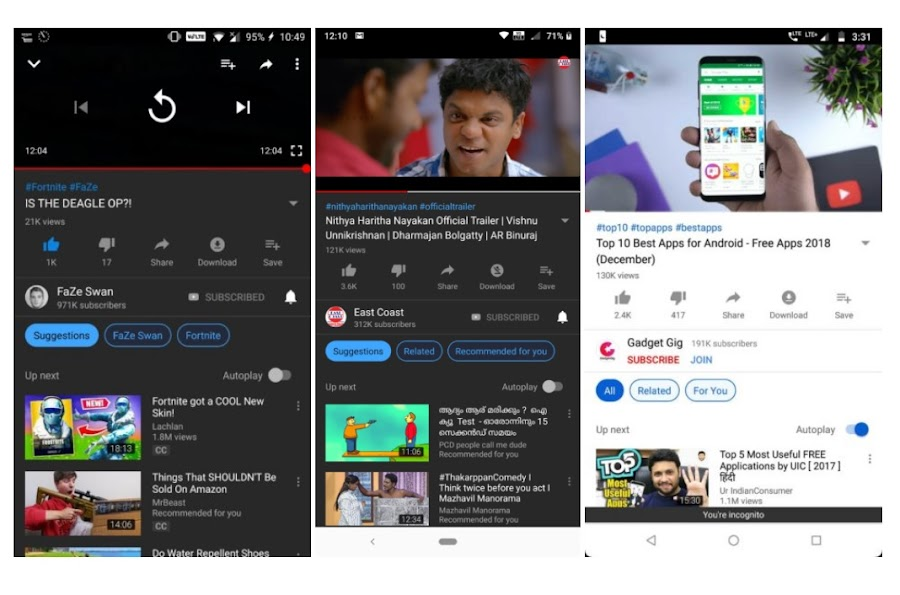 "YouTube is testing ""Up Next"" filters/categories on Android"