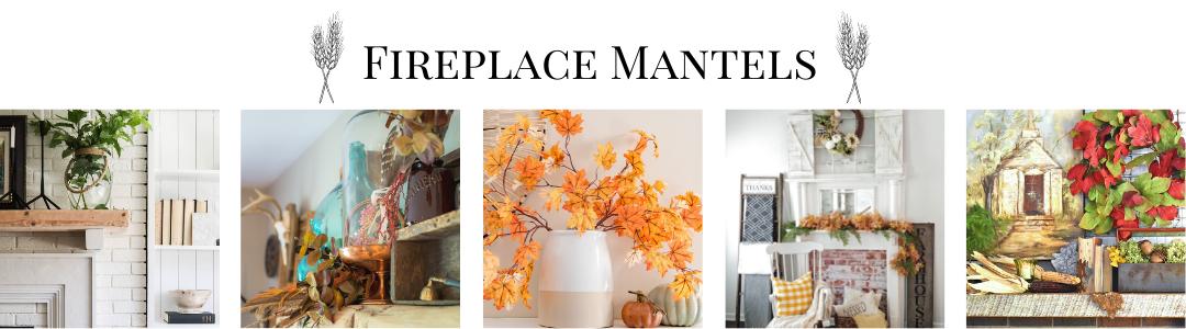 fall decorated fireplace mantels
