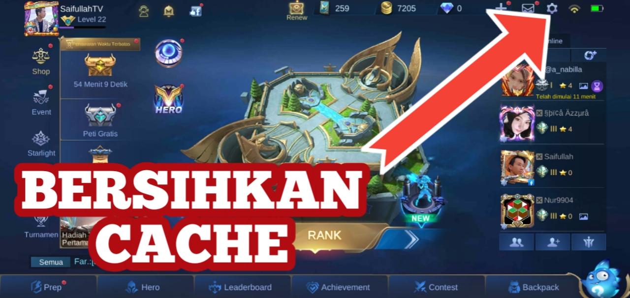 Cara Hapus Cache Mobile Legend Langsung Dari Game