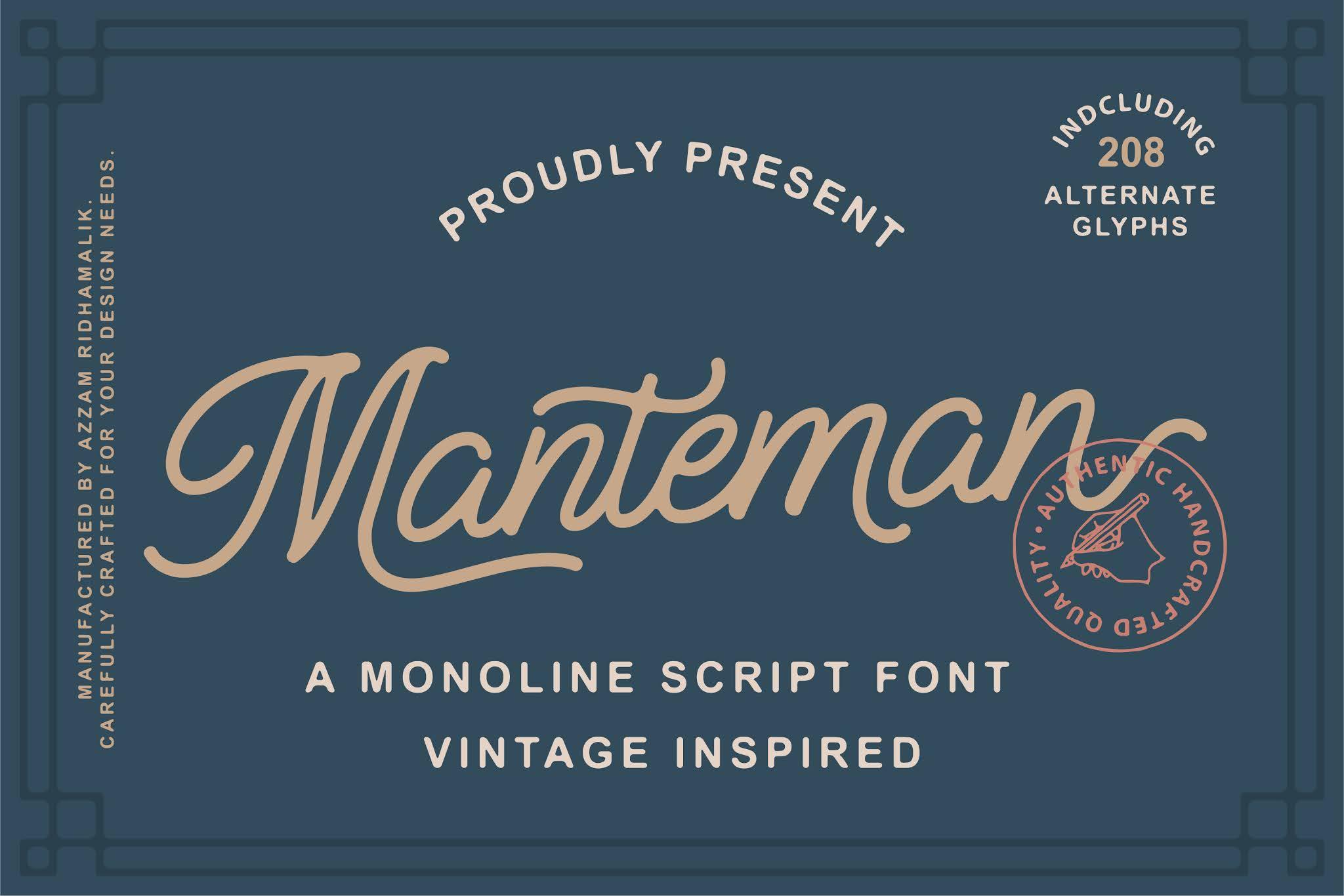 Manteman Font - Free Script Monoline Typeface