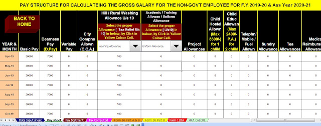Most common Investments and how they are Taxed in F.Y. 2019-2020 With Automated Income Tax Preparation Excel Based Software All in One TDS on Salary for Non-Govt Employees for F.Y. 2019-20 9