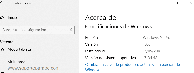 cual versión windows 10 está instalado