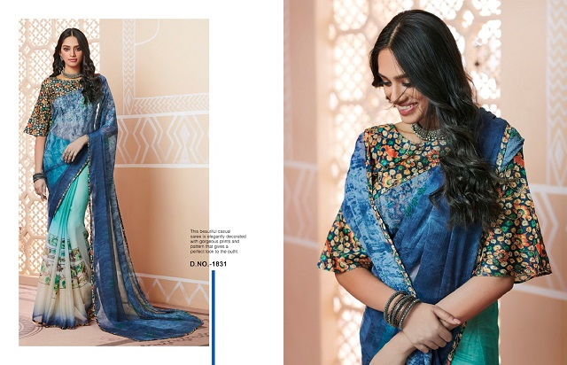 Blue georgette printed casual sarees at Monsoon