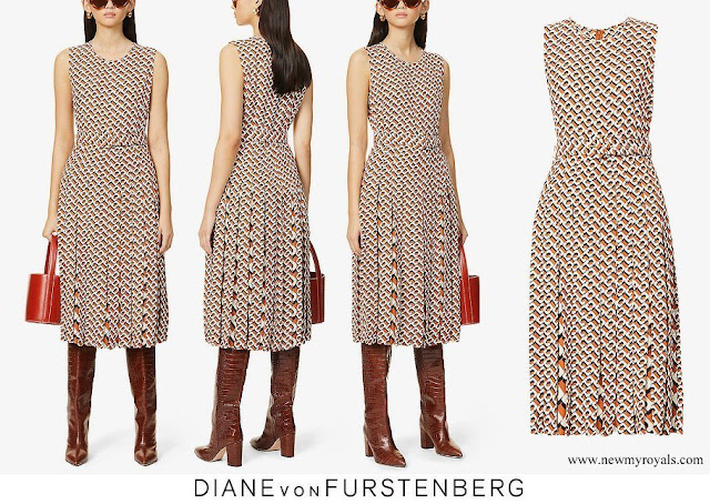 The Countess of Wessex wore DIANE VON FURSTENBERG Liliana scoop-neck graphic print woven maxi dress