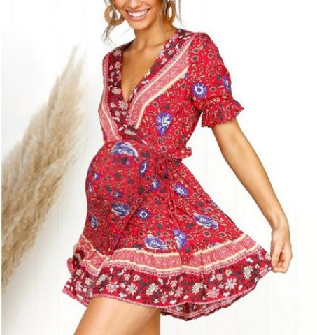 Maternity Bohemia V-Neck Printing Above Dress- Price: $26.99 USD